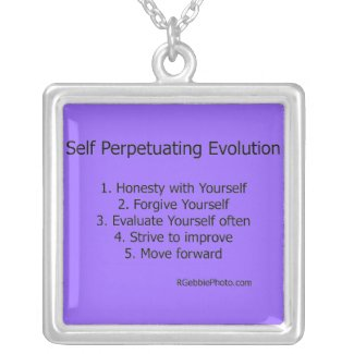 Self Perpetuating Evolution Silver Plated Necklace