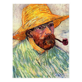 Self-Portait with straw hat by Vincent van Gogh Postcard