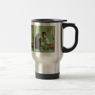 Self Portrai looking in a Mirror -Toulouse-Lautrec 15 Oz Stainless Steel Travel Mug