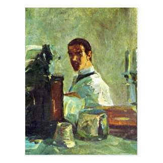 Self Portrai looking in a Mirror -Toulouse-Lautrec Postcard