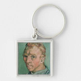 Self Portrait, 1889 Silver-Colored Square Keychain