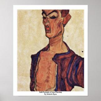 Self-Portrait A Face Piercing By Schiele Egon Posters