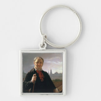 Self Portrait against the Window Silver-Colored Square Keychain