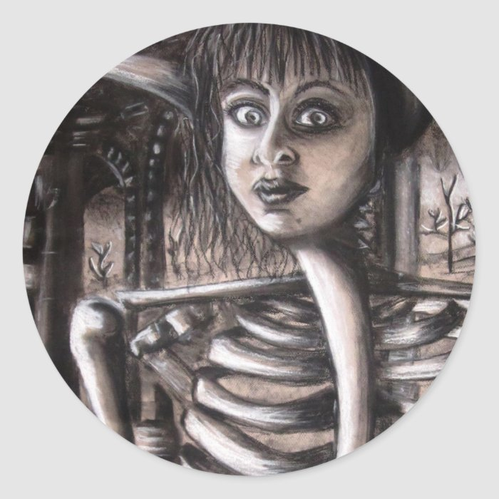 Self Portrait As A Skeleton Classic Round Sticker