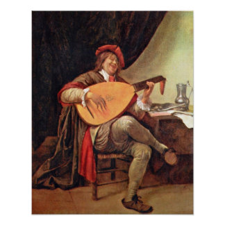Self-Portrait as a violin player by Jan Steen Print