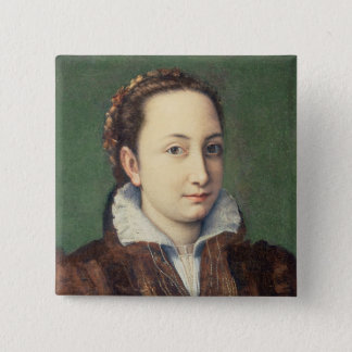 Self portrait, attired as maid-of-honour pinback button