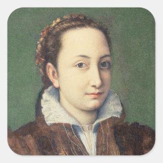 Self portrait, attired as maid-of-honour square sticker