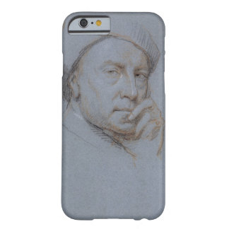Self Portrait (black, red and white chalk on blue Barely There iPhone 6 Case