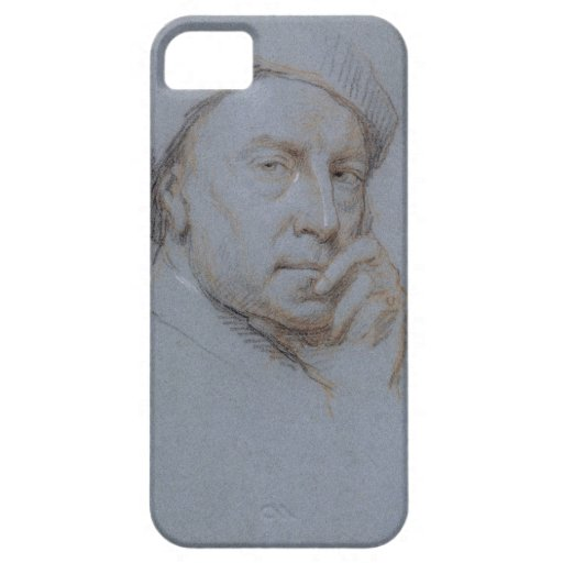 Self Portrait (black, red and white chalk on blue iPhone 5 Cases