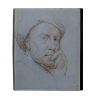 Self Portrait (black, red and white chalk on blue iPad Folio Cover