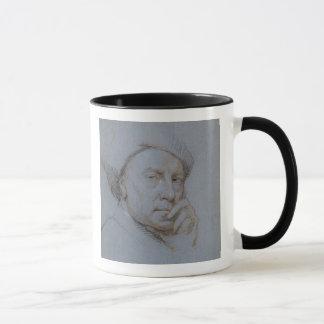 Self Portrait (black, red and white chalk on blue Mug