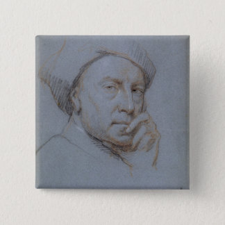 Self Portrait (black, red and white chalk on blue Pinback Button