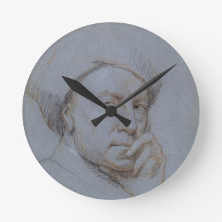 Self Portrait (black, red and white chalk on blue Round Clock