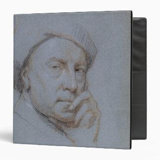 Self Portrait (black, red and white chalk on blue Vinyl Binders