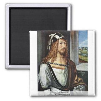Self-Portrait,  By Albrecht Dürer 2 Inch Square Magnet