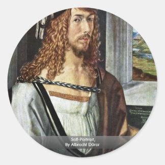 Self-Portrait By Albrecht Dürer Round Sticker