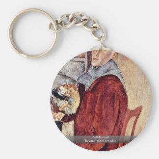 Self-Portrait By Modigliani Amedeo Basic Round Button Keychain