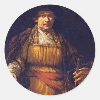 Self-Portrait By Rembrandt Harmensz. Van Rijn Round Stickers