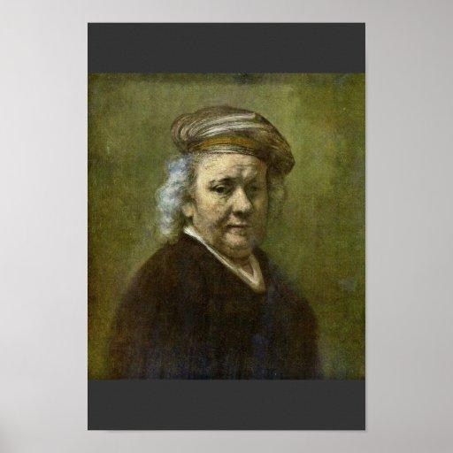 Self-Portrait  By Rembrandt Van Rijn Poster