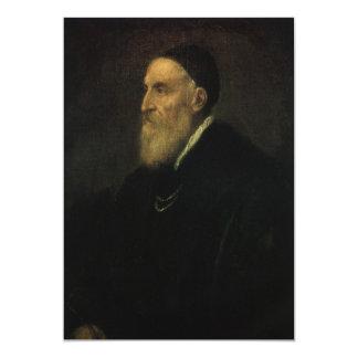 Self Portrait by Titian, Renaissance Art 5x7 Paper Invitation Card