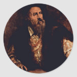 Self-Portrait By Titian Round Stickers