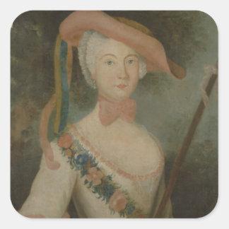 Self Portrait, c.1725-40 Square Sticker