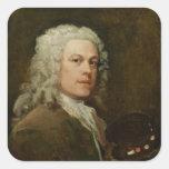 Self Portrait, c.1735-40 (oil on canvas) Square Stickers