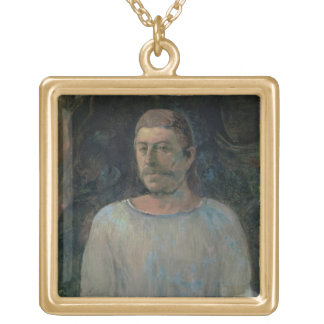 Self portrait, close to Golgotha, 1896 (oil on can Square Pendant Necklace