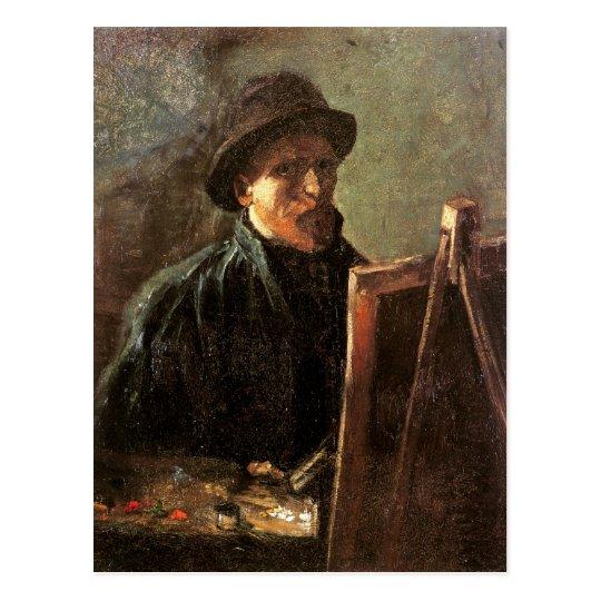 Self-Portrait, Dark Hat, Easel Van Gogh Fine Art Postcard