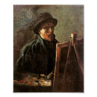 Self-Portrait, Dark Hat, Easel Van Gogh Fine Art Poster