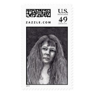 Self portrait, fine art stamp. postage stamp