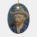Self-Portrait Grey Felt Hat Van Gogh Fine Art Double-Sided Oval Ceramic Christmas Ornament
