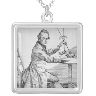Self Portrait holding callipers over a mask Silver Plated Necklace