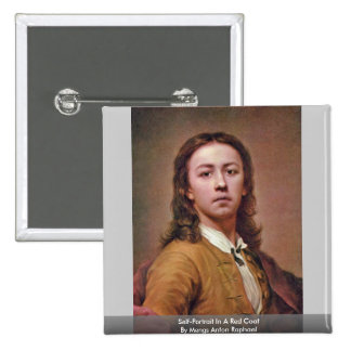 Self-Portrait In A Red Coat By Mengs Anton Raphael Pinback Button