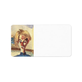 Self Portrait in a room by Walter Gramatte Personalized Address Label