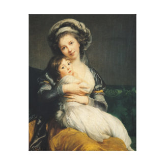 Self portrait in a Turban with her Child, 1786 Canvas Print