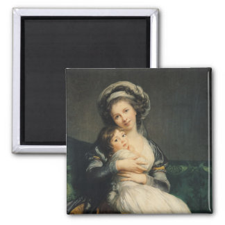 Self portrait in a Turban with her Child, 1786 Magnet