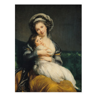Self portrait in a Turban with her Child, 1786 Postcard