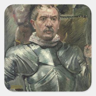 Self portrait in armour, 1914 square sticker
