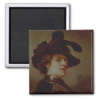 Self Portrait in Fancy Dress, 1635-36 2 Inch Square Magnet