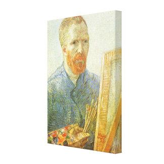 Self Portrait in Front of Easel, Vincent van Gogh Canvas Print