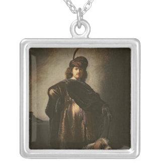 Self Portrait in Oriental Costume, 1631 Square Pendant Necklace