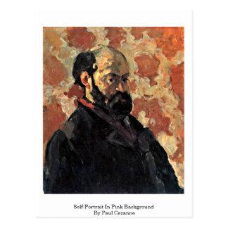 Self-Portrait In Pink Background By Paul Cezanne Postcard