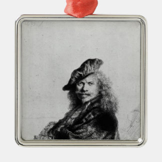 Self portrait leaning on a stone sill, 1639 metal ornament