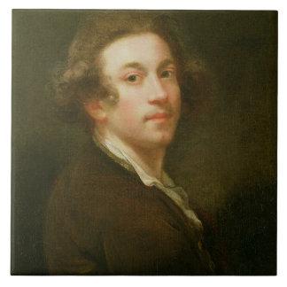 Self Portrait, Looking over Right Shoulder (oil on Ceramic Tile