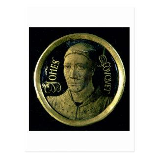 Self portrait medallion, c.1450 (enamel on copper) postcard