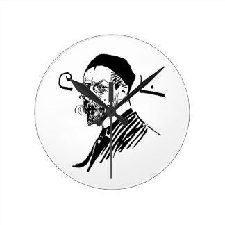 Self Portrait of Artist Carl Larsson 1891 Round Wall Clock
