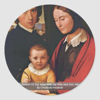 Self-Portrait Of The Artist With His Wife And Son Round Stickers