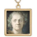 Self Portrait (oil on paper) Square Pendant Necklace