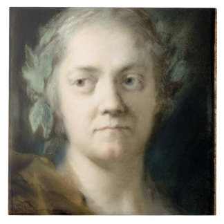 Self Portrait (oil on paper) Large Square Tile